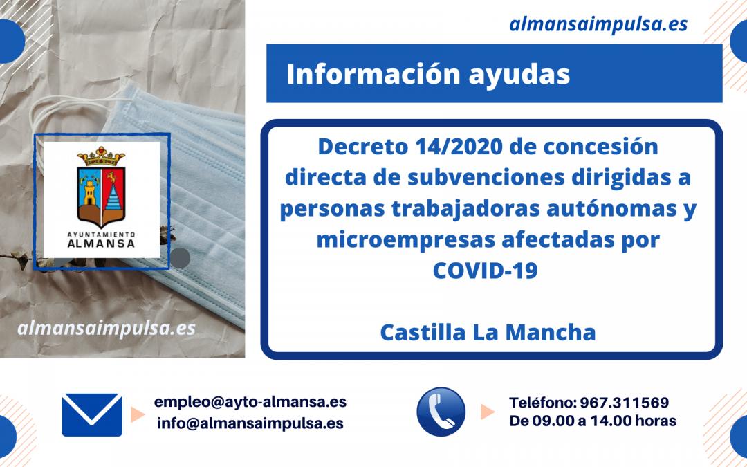Publicado y abierto el plazo para concesión directa de subvenciones dirigidas a personas autónomas y microempresas afectadas por COVID-19 en Castilla La Mancha