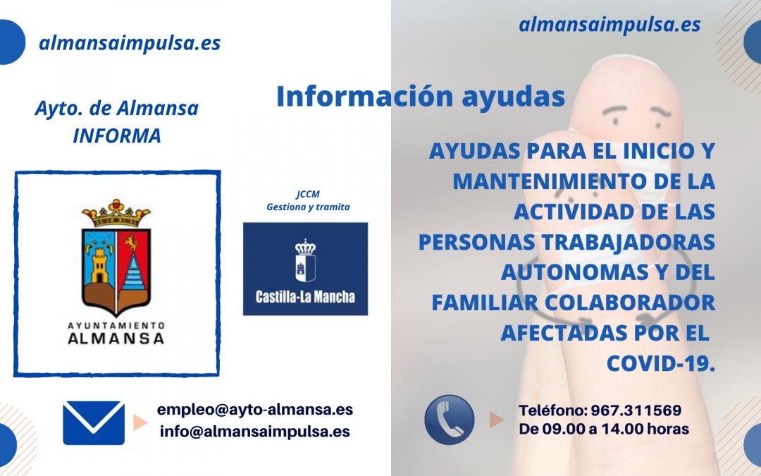 AYUDAS JCCM PARA EL INICIO Y MANTENIMIENTO DE LA ACTIVIDAD DE LA ACTIVIDAD DE LAS PERSONAS AUTONOMAS Y DEL FAMILIAR COLABORADOR AFECTADAS POR EL COVID-19