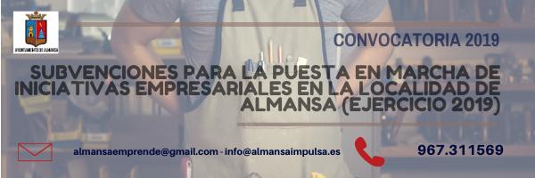 AYUDAS DEL AYUNTAMIENTO DE ALMANSA PARA LA PUESTA EN MARCHA DE INICIATIVAS EMPRESARIALES 2019
