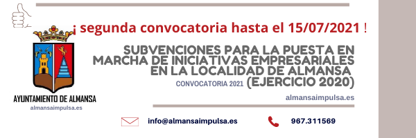 2ª convocatoria hasta el 15/07/2021 | AYUDAS DEL AYUNTAMIENTO DE ALMANSA PARA LA PUESTA EN MARCHA DE INICIATIVAS EMPRESARIALES 2021