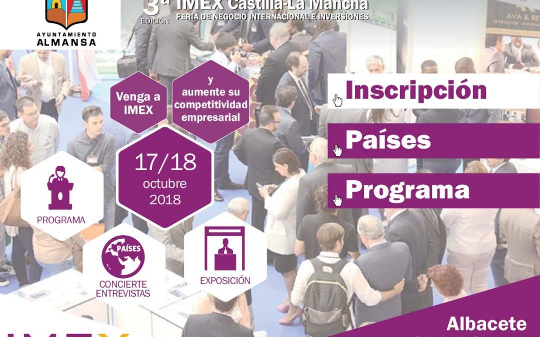 El Ayuntamiento de Almansa en la 3ª Edición de la Feria IMEX Castilla La Mancha de Negocio Internacional. Te invitamos