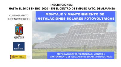 Abierta la inscripción para el curso de MONTAJE Y MANTENIMIENTO DE INSTALACIONES SOLARES FOTOVOLTAICAS