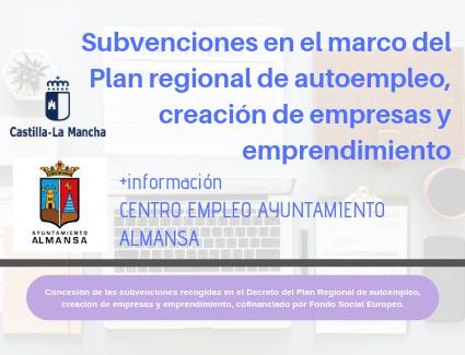 Subvenciones en el marco del Plan regional de autoempleo, creación de empresas y emprendimiento. JCCM