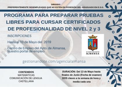 PROGRAMA PARA PREPARAR PRUEBAS LIBRES PARA CURSAR CERTIFICADOS DE PROFESIONALIDAD DE NIVEL 2 y 3