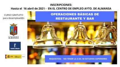 Abierta la inscripción para el curso de OPERACIONES BÁSICAS DE RESTAURANTE Y BAR